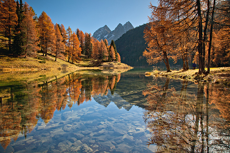 Palpuogna lake in autumn, Albula Pass, Preda