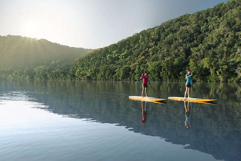 Stand-up paddle boarding, Lake Austin, Austin, Texas